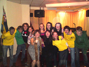Some of the Uganda team at a Fundraiser alongside comedians Jo Enright and Barbara Nice