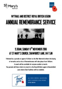 Remembrance Service @ St. Mary's  | Hollywood | England | United Kingdom